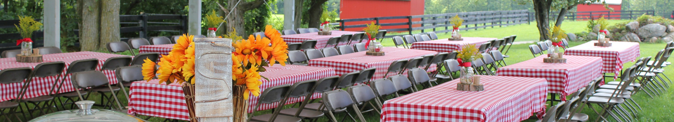 Caledon red and white check rustic wedding
