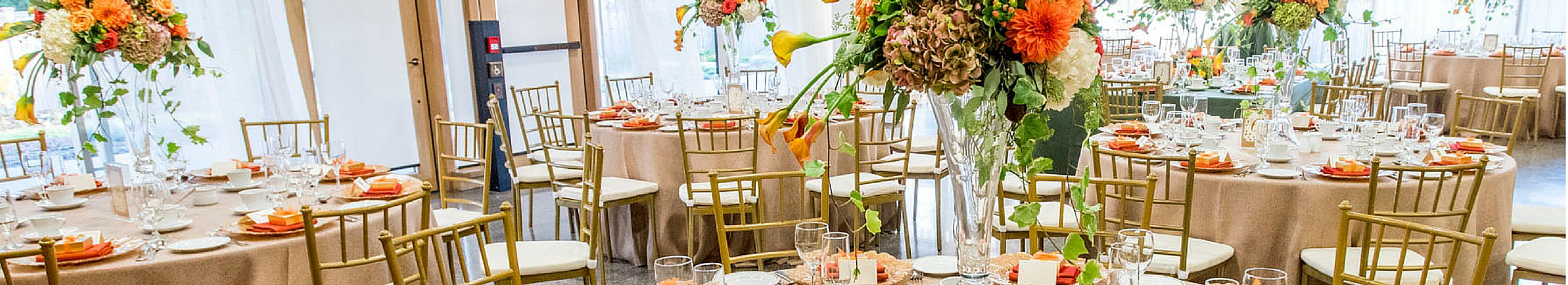 Caledon rustic wedding with chivari chairs and autumn floral decor
