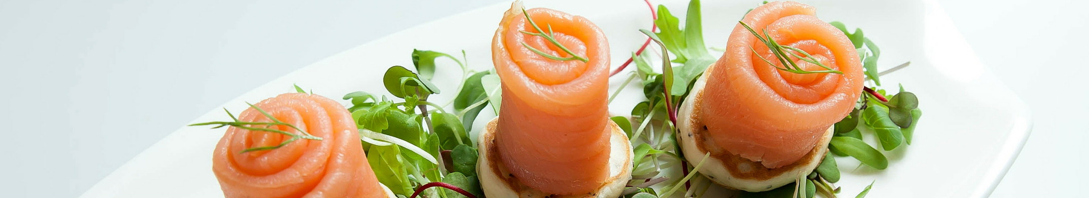 Caledon catering cocktail party smoked salmon on dilled blini